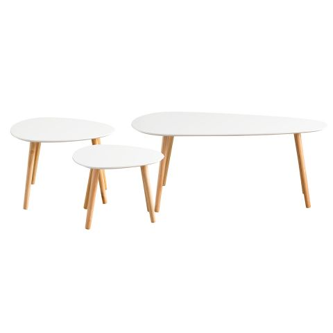 "Lot de 3 Tables Basses Design ""Dana"" 103cm Blanc"