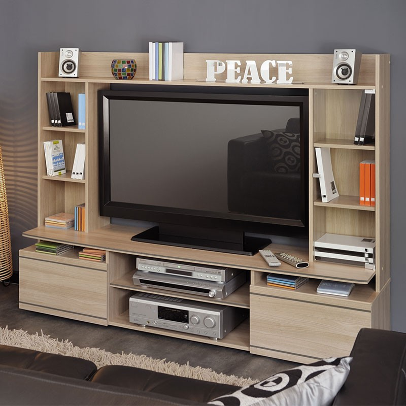 meuble tv mural peace naturel. Black Bedroom Furniture Sets. Home Design Ideas