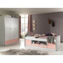 "Pack - Lit Capitaine Enfant & Armoire ""Bonny"" Rose"