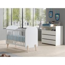 "Pack - Lit Bébé, Commode & Plan à Langer ""Kiddy"" Blanc"