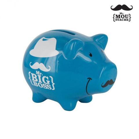 Tirelire Mr Moustache® Cochon Bleu