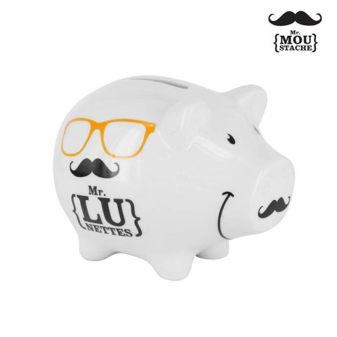 Tirelire Mr Moustache® Cochon Blanc
