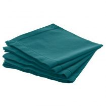 "Lot de 4 Serviettes de Table ""Chambray"" 40cm Bleu Canard"