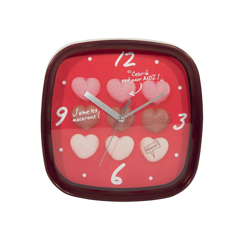 horloge murale macarons rouge. Black Bedroom Furniture Sets. Home Design Ideas