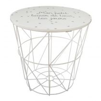 "Table d'Appoint Design Enfant ""Kumi"" 30cm Blanc"