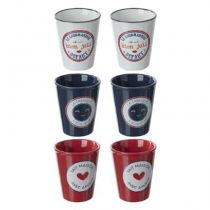"Coffret 6 Tasses ""French"" 10cl Bleu, Blanc & Rouge"