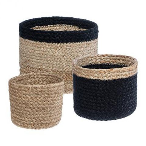 "Lot de 3 Paniers ""Seagrass"" 18cm Noir & Naturel"
