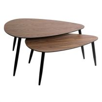 "Lot de 2 Tables Basses Gigognes ""Mileo"" 98cm Naturel"