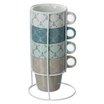 "Lot de 4 Mugs sur Rack ""Babord"" 26cl Multicolore"