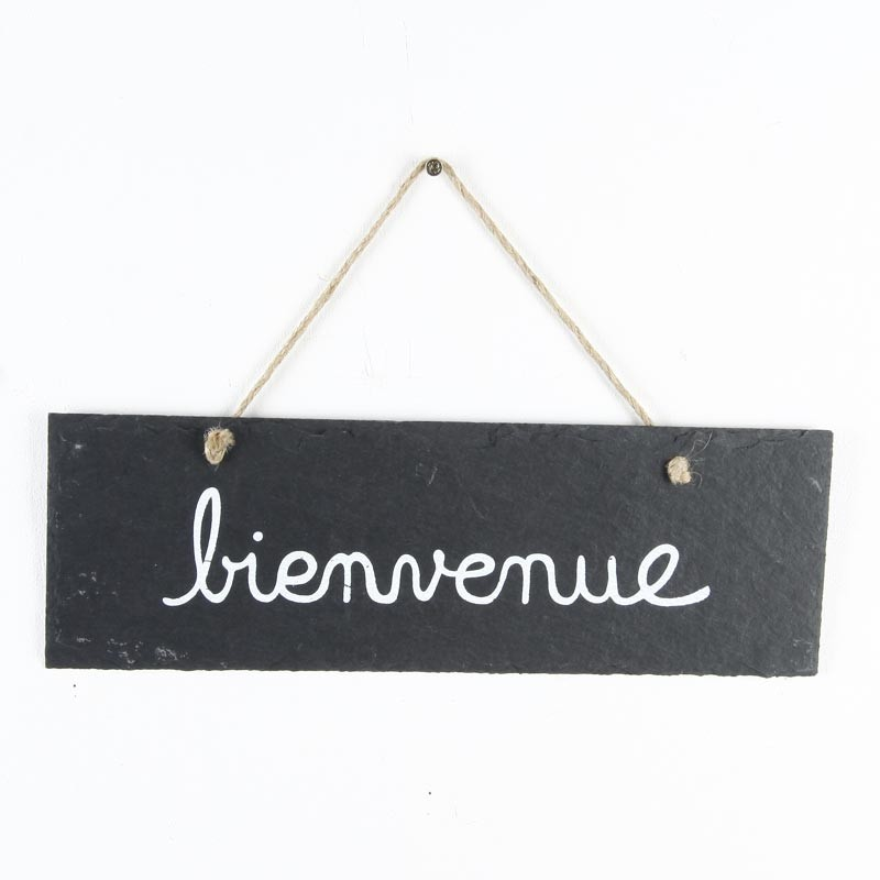 Plaque de porte ardoise bienvenue gris for Decoration porte bienvenue