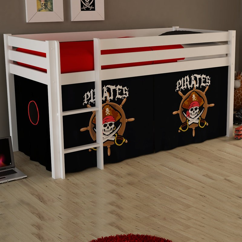 lit enfant sans toboggan pino pirates ii blanc. Black Bedroom Furniture Sets. Home Design Ideas