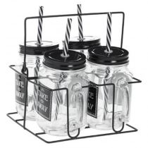 "Lot de 4 Chopes & Rack ""Cadence"" 45cl Transparent"