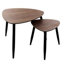 "Lot de 2 Tables d'Appoint Gigognes ""Mileo"" 60cm Naturel"