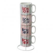 "Lot de 4 Mugs & Rack Imprimé ""French"" 24cl Blanc"