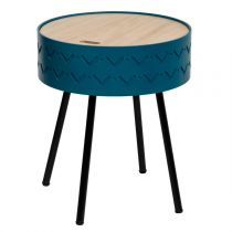 "Table d'Appoint Design Coffre ""Shiro"" 45cm Bleu"