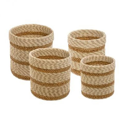"Lot de 4 Paniers en Jute ""Seagrass"" 28cm Naturel"
