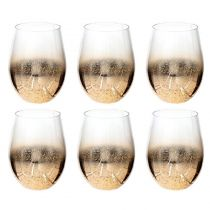 "Lot de 6 Gobelets en Verre ""Dahlia"" 55cl Or"