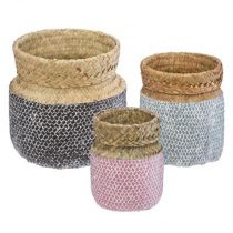 "Lot de 3 Paniers de Rangement ""Seagrass"" 24cm Multicolore"