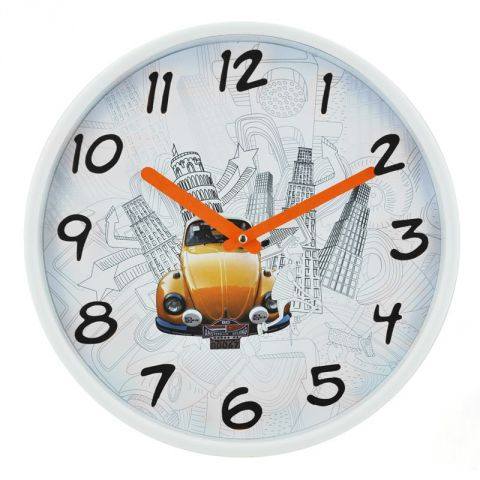"Pendule Murale ""Voiture"" Orange 30cm"