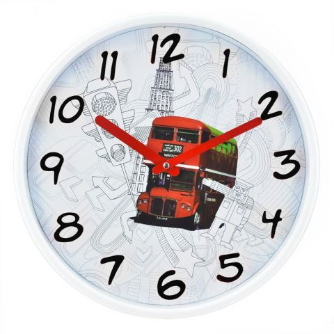 "Pendule Murale ""London Bus"" Rouge 30cm"