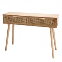 "Console 2 Tiroirs Design ""Drago"" 110cm Naturel"