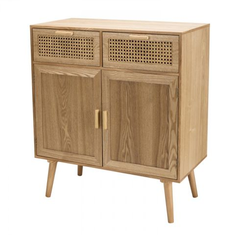 "Buffet 2 Tiroirs & 2 Portes ""Drago"" 85cm Naturel"