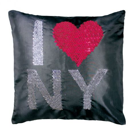 "Housse de coussin ""Strass"" I Love New York"