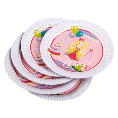 "Lot de 6 Assiettes en Carton ""Princesse"" 18cm Rose"