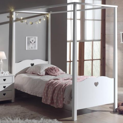lit baldaquin enfant amori blanc. Black Bedroom Furniture Sets. Home Design Ideas