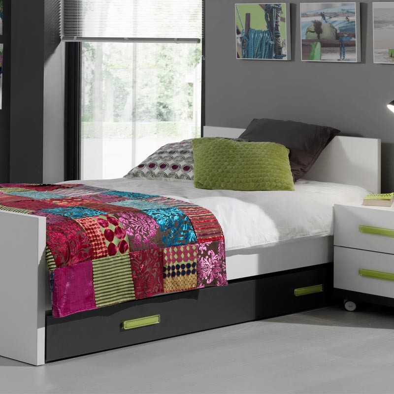 tiroir de lit enfant nixon noir. Black Bedroom Furniture Sets. Home Design Ideas