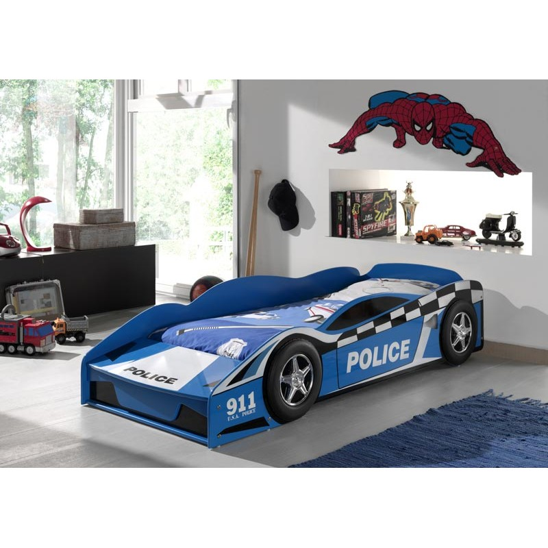 lit enfant police bleu. Black Bedroom Furniture Sets. Home Design Ideas