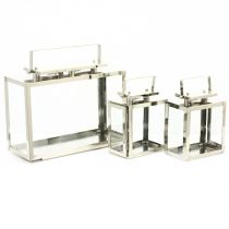 "Set de 3 Lanternes Inox ""VIP"" Transparent"
