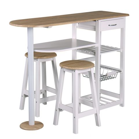 "Table de Bar et 2 Tabourets ""Bivoak"" Blanc"