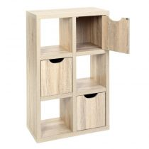 "Meuble 6 Cubes 3 Portes ""Bivoak"" Naturel"