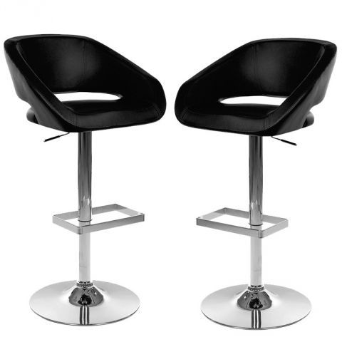 "Lot de 2 Tabourets de Bar Confort ""Marlon"" Noir"