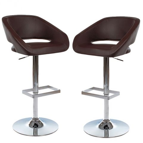 "Lot de 2 Tabourets de Bar Confort ""Marlon"" Chocolat"