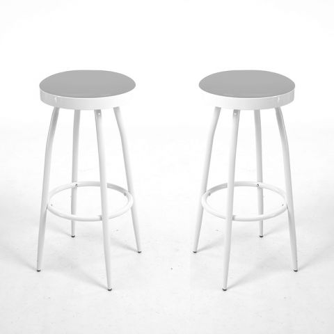 "Lot de 2 Tabourets de Bar ""Arlow"" Gris"