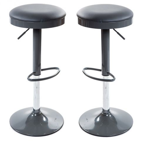 "Lot de 2 Tabourets de Bar ""Lelio"" Gris"