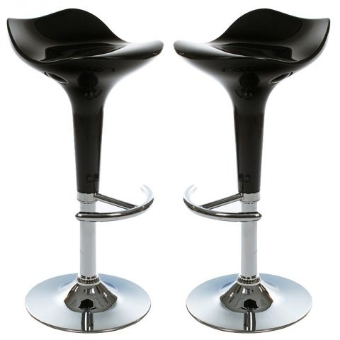 "Lot de 2 Tabourets de Bar ""Timeo"" Noir"