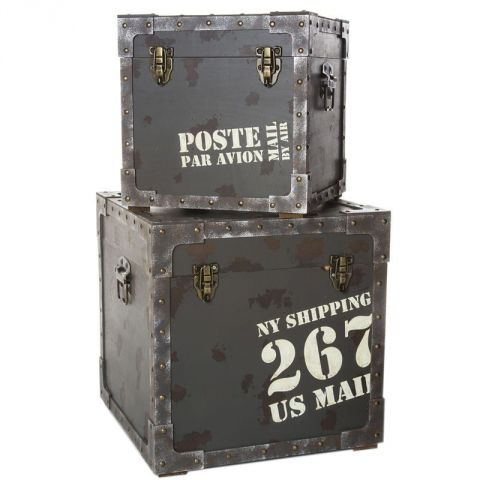 "Set de 2 Malles ""Courrier Us"" Métal Gris"
