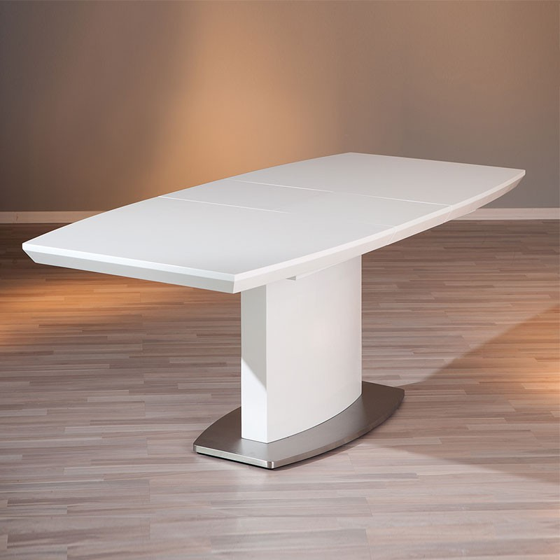 Table de salle manger extensible galas 160 200cm blanc for Table extensible 160