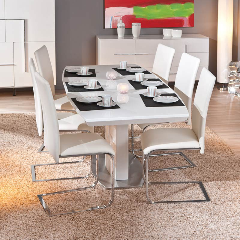 table de salle manger extensible galas 160 200cm blanc. Black Bedroom Furniture Sets. Home Design Ideas