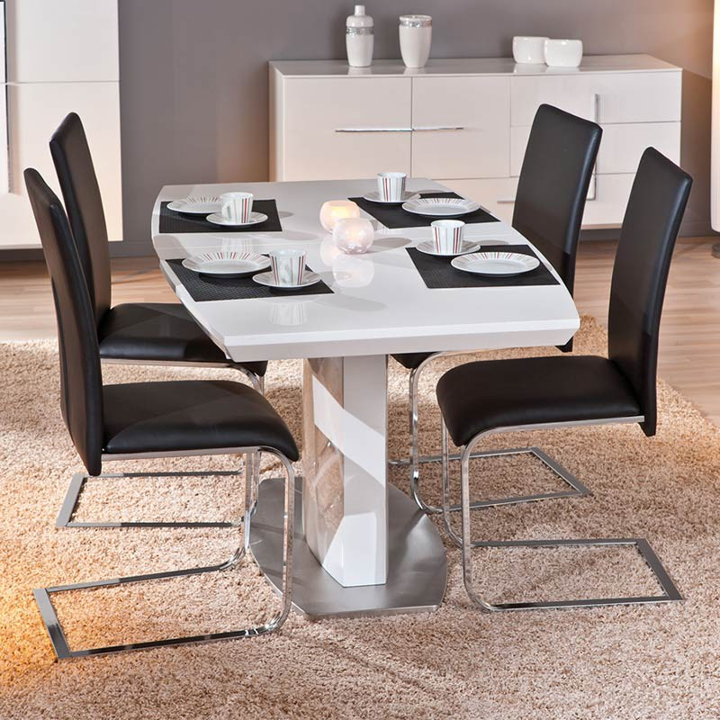 Table de salle manger extensible galas 160 200cm blanc for Table de salle a manger extensible