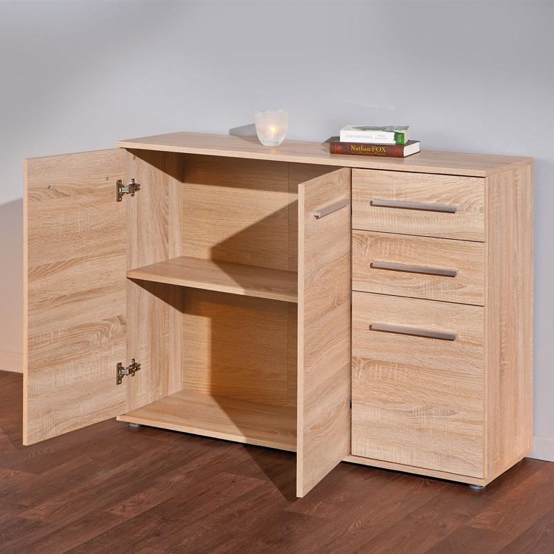 buffet 3 portes 2 tiroirs giulia naturel. Black Bedroom Furniture Sets. Home Design Ideas