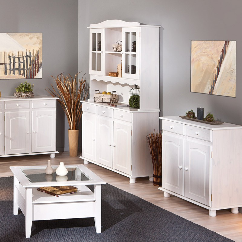 bahut vaisselier 3 portes alienor blanc. Black Bedroom Furniture Sets. Home Design Ideas