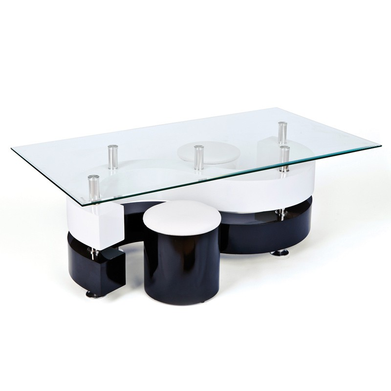 Table basse design vertigo blanc et noir - Table basse design noir et blanc ...