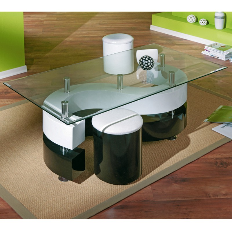 Table basse design vertigo blanc et noir - Table basse noir et blanc design ...