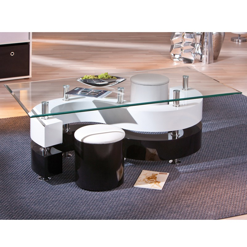 Table basse design vertigo blanc et noir for Table noir et blanc