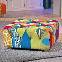 "Pouf Carré Patchwork ""Aquarelle"" Multicolore"
