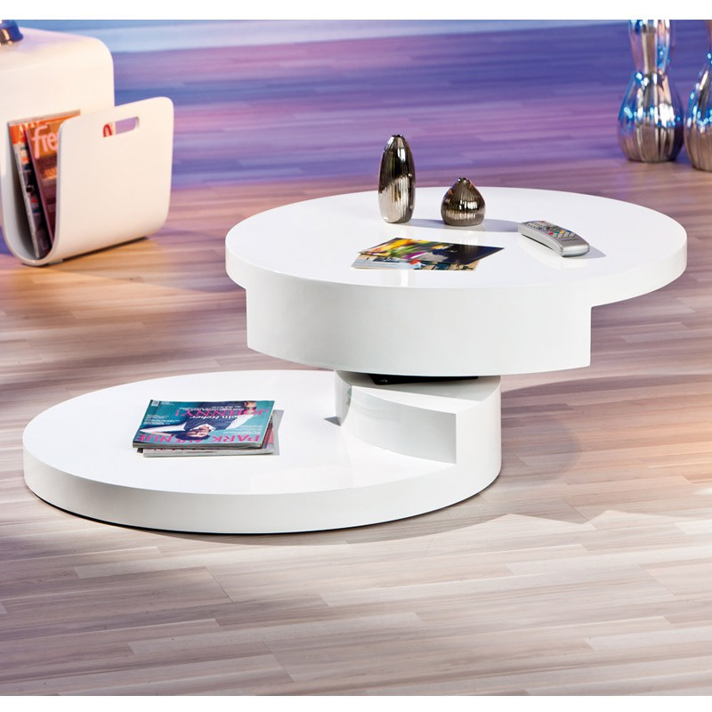 Table basse ronde pivotante serena blanc - Table basse ronde pivotante ...
